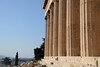 Morning sun splashes on the front columns of the Parthenon.