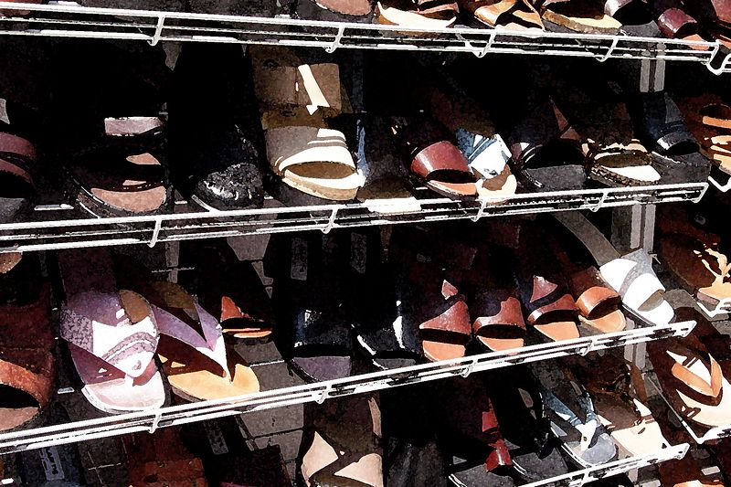 Rows of shoes in the Praka.