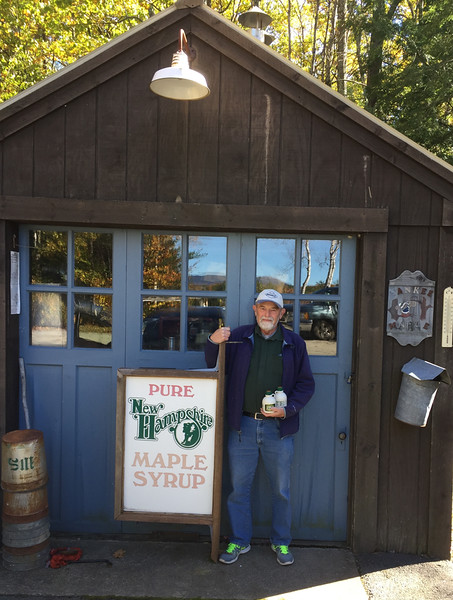 Don Stewart with his maple syrup which I will take to the O'Farrells. October 23, 2016.