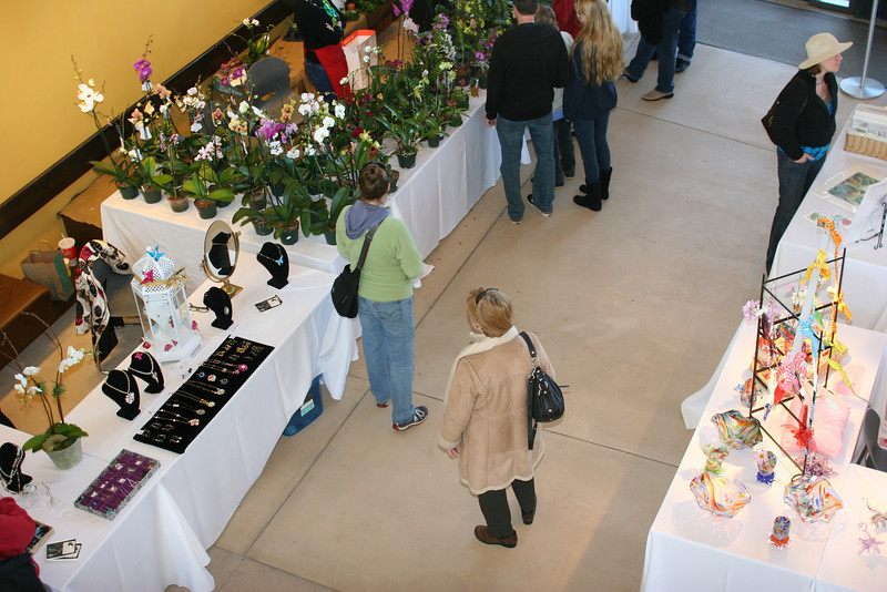 above the flower sale at the Botanical Gardens