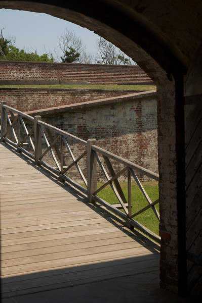 Looking Out on Fort Macon's Entrance