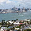 View of Devonport, Auckland waterfront, and Waitemata Harbour from atop Mt Victoria in New Zealand.