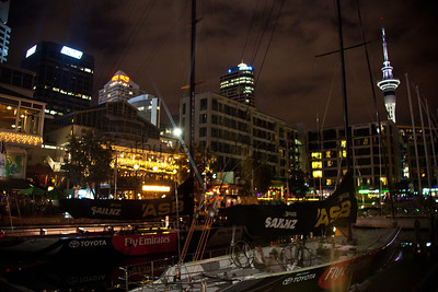 America's Cup yachts await a new day during the Volvo Ocean Race stopover 2012