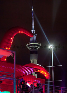 Puma's Mar Mostro reaches tentacles toward the sky tower during the Auckland stopover of the Volvo Ocean Race  2012