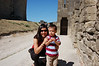 Mommy and Michael playing on the ramparts in Carcassonne.