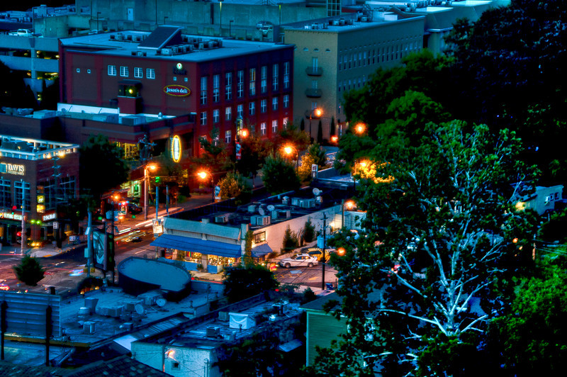 Looking down at 10th Street and Piedmont Ave from Eileen Dubin's condo in midtown Atlanta at night. - HDR processed