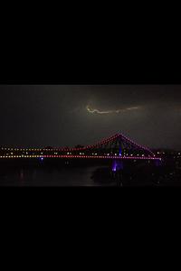 Lightning over the Story Bridge in Brisbane