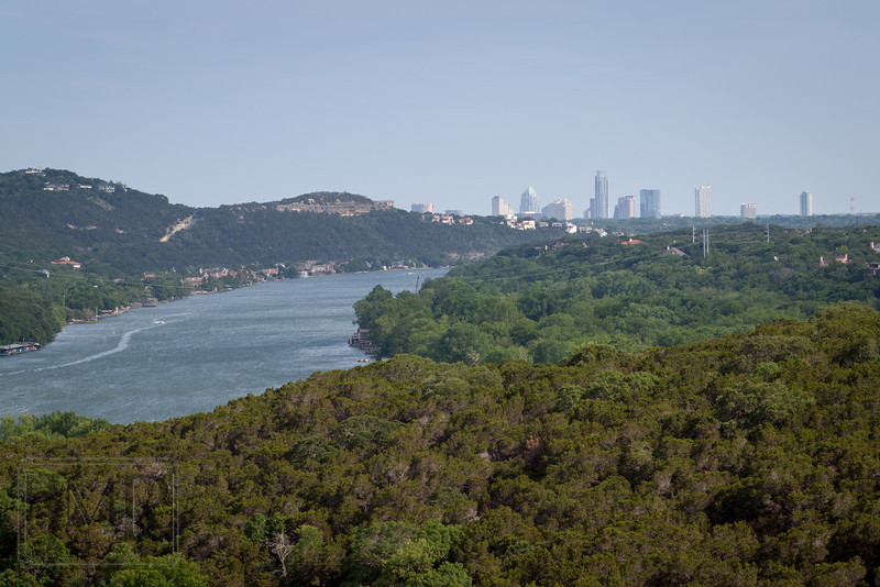 Lake Austin and downtown - A view of Lake Austin with the buildings of downtown visible in the distance.