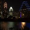 Downtown Austin at night - Walking along Lady Bird Lake Trail in Austin, TX.