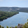 Lake Austin in blue - View of Lake Austin and the 360 bridge from Mt Bonnell Park