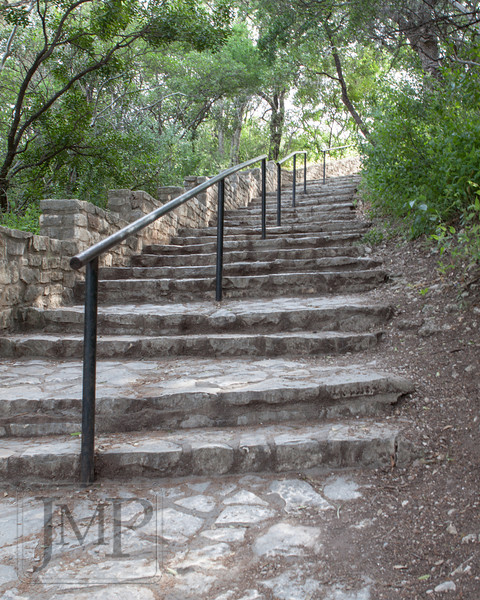 Stairs to climb - Stone stairs leading up to Mt Bonnell Park