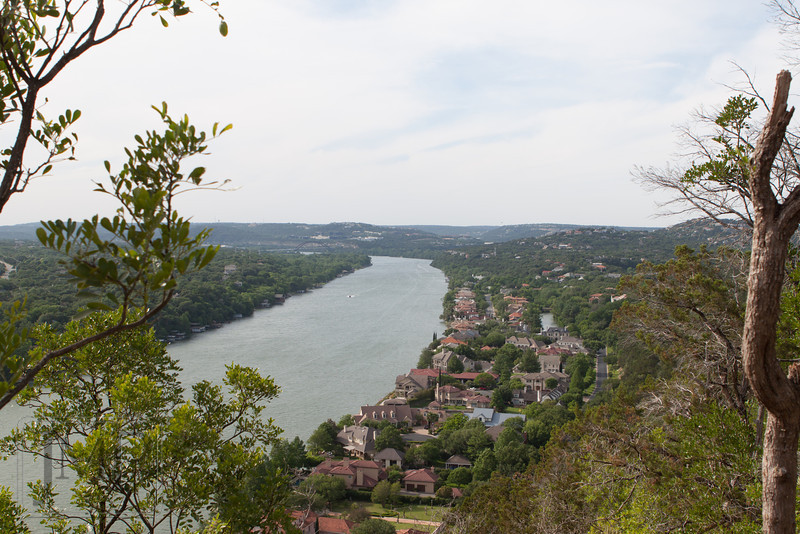 Living on the Lake - View of homes on the shore of Lake Austin seen from Mt Bonnell Park.