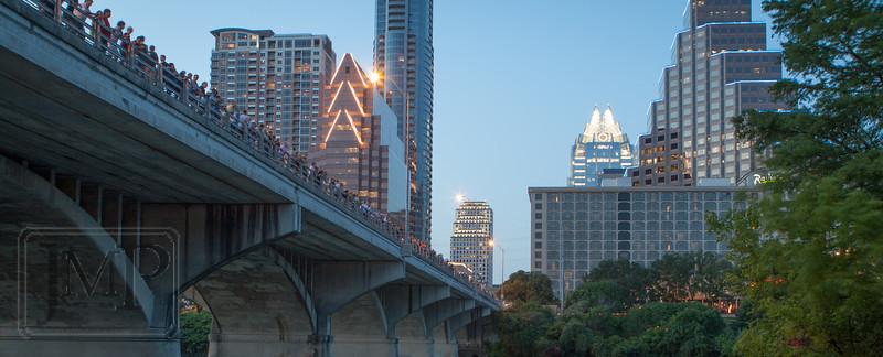 Congress St Bridge in Austin, TX - Waiting for the bats to emerge from the Congress St bridge in Austin, TX.