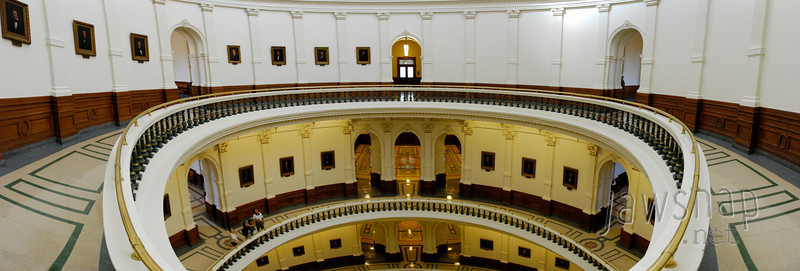 """<span id=""""title"""">4th Level</span> This 10-shot panorama was taken on the 4th level in the Capitol dome. The portraits of governors line the walls on all 4 levels - when a new governor comes in, every painting gets moved down a spot. Eventually they'll run out of room. See the details - <a href=""""http://zoom.it/TG7M"""">http://zoom.it/TG7M</a> See if you can find all five people!"""