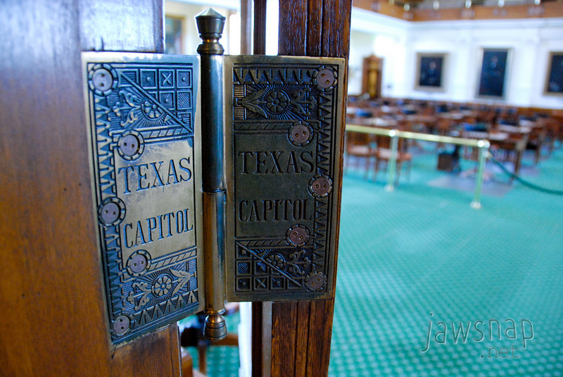 """<span id=""""title"""">Hinges</span> Have you ever seen such elaborate customized hinges? They also have door handles with lone stars on them. Everywhere..."""