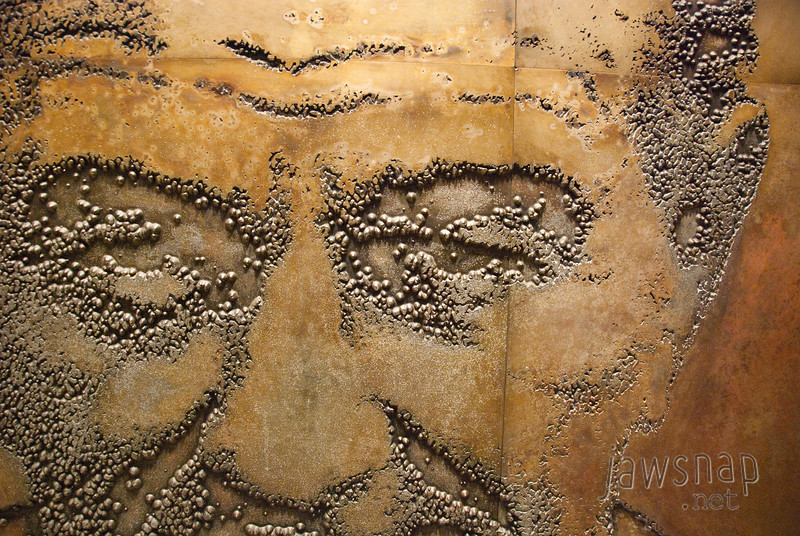"""<span id=""""title"""">LBJ</span> Closeup of a really cool metal mural that depicted LBJ with other dignitaries through the years."""