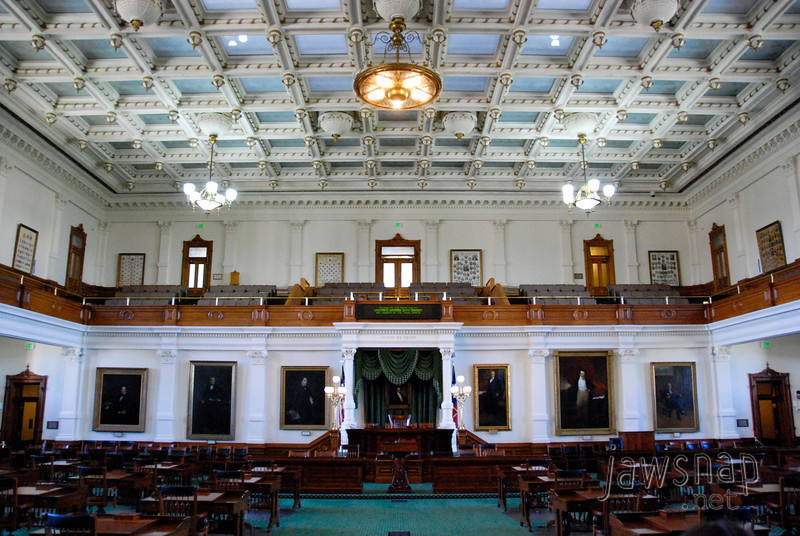 """<span id=""""title"""">Senate Chambers</span> I like how the only """"modern"""" things in this room are the exit signs and the ugly green LED display over the speaker's chair."""