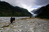 The walk to the glacier started out over the river bed formed by the melt water from the glacier