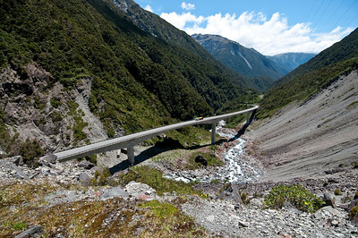 This bridge was built to avoid a section of road that was subject to frequent landslides
