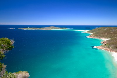 Shark Island, Port Stephens @ FIngal Spit. Tomaree Head National Park, Port Stephens. New South Wales, Australië.