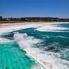 View Bondi Beach from Iceberg Club. <br /> Sydney, New South Wales, Australië.