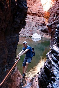 Handrail Pool, Weano Gorge,  Karijini NP, Pilbara. WA, Australië.