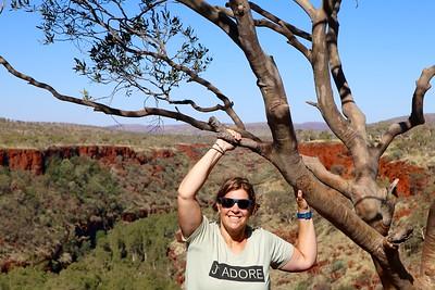 Gorge Rim Walk, Dales Gorge, Karijini NP, Pilbara. WA, Australië.