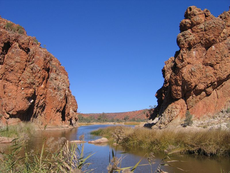 Glen Helen Gorge. One of the few water holes in the area.