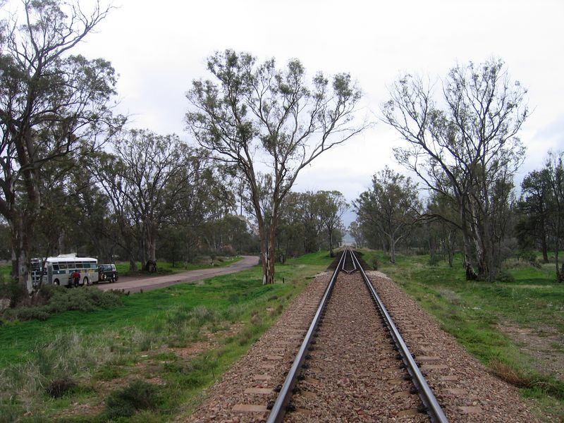 Railroad south of Port Augusta. The Bus on the left runs on fry oil.
