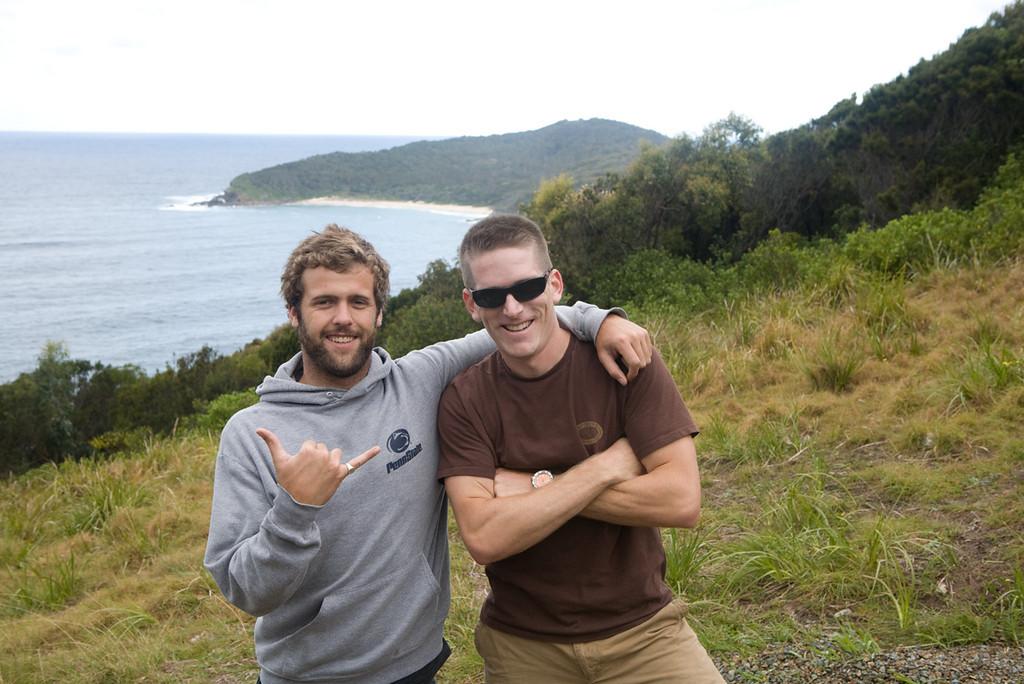 Nick and I near Bluey's Beach, 400k north of Sydney