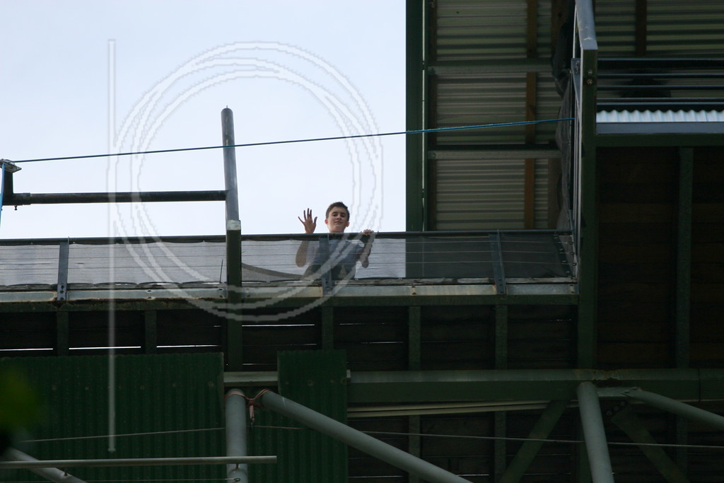 Conrad goes for Bungy and is first to the top of the platform.