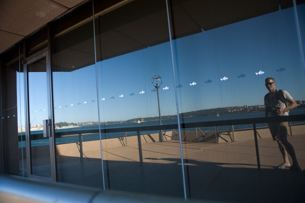 my reflection in the Sydney Opera House glass