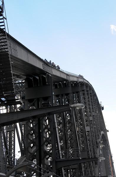 Looking up at bridge walkers