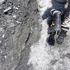 One the ice, using our crampons. You have to walk carefully in these things!