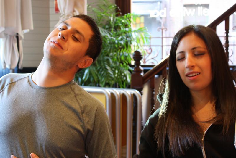 David and Tina, full at breakfast.