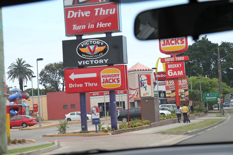 The fast food corner in Sydney: Hungry Jack's (Burger King), McDonald's and KFC
