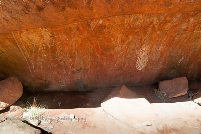 Cave Drawings at Urulu / Ayers Rock Used by Anangu Elders to Teach Nyiinka (Bush Boys)