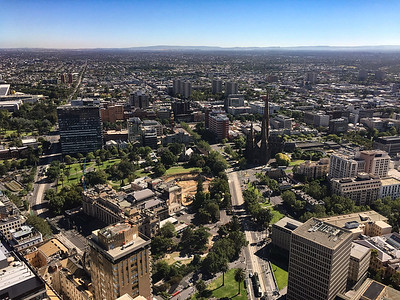 Melbourne  cityscape from Sofitel 4718, ear popping elevator ride