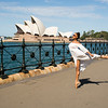 Ballerina posing in front of the Sydney Opera House