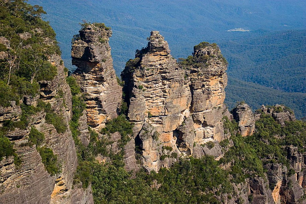 The Thre Sisters, Blue Mountains, Australia. the background is made up of a vriety of eucalyptus trees