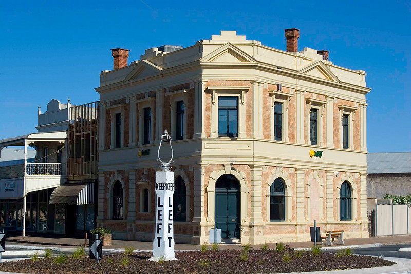 Building in the town of Balaklava, Clare Valley, South Australia.  There were a lot of wires and signs that were Photoshopped out.