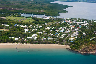an aerial view of Port Douglas. We swam in the jelly netted area earlier in the trip.
