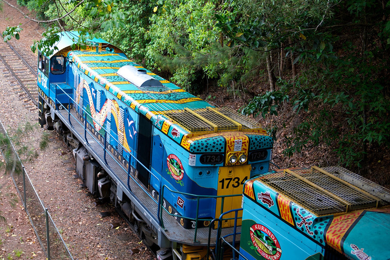 We walked to the viewpoint, but others took a train with brightly painted locomotives.