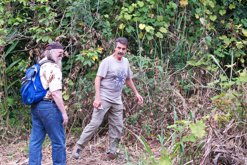 """Note the clippers in Richard's hand.  In order to hike, you need to be able to cut your way through vines.  Some are nasty sharp, called """"wait-a-while""""."""