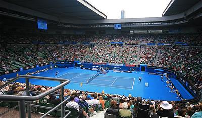 Andy Roddick @ Rod Laver Arena. Australian Open 2011, Melbourne. Victoria, Australië.