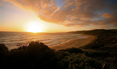 Sunset @ Johanna Beach, Great Otways NP. Great Ocean Road. Victoria, Australië.