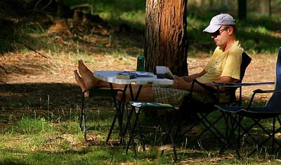 Vrij kamperen in Mount Eccles NP. Victoria, Australië.