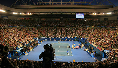 Del Potro - Baghdatis @ Rod Laver Arena. Australian Open 2011, Melbourne. Victoria, Australië.