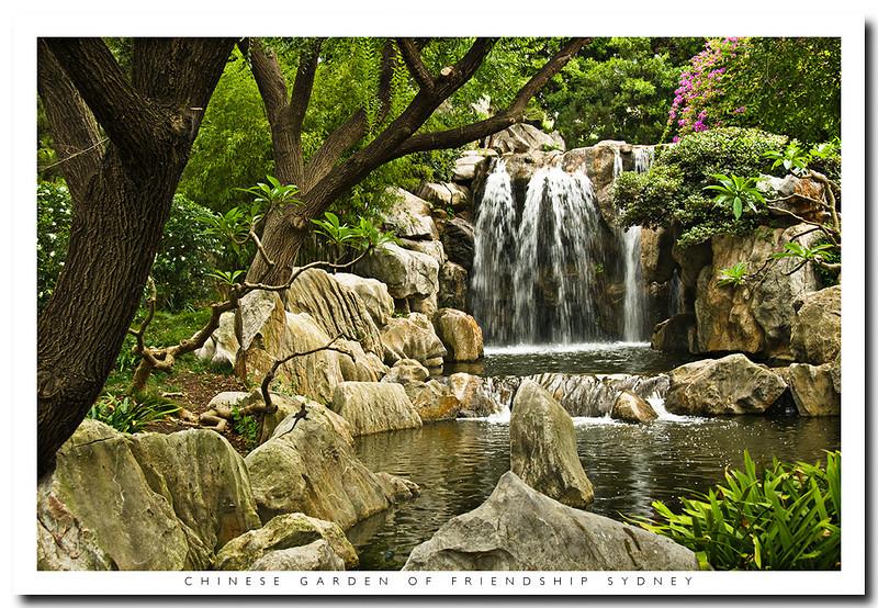 Waterfalls in the Chinese Garden of Friendship,Darling Harbour,Sydney, Australia
