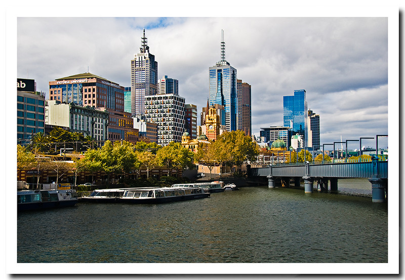 Melbourne Skyline across Yarra River, Victoria, Australia